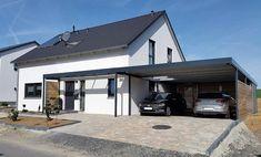Metallcarport und Haustürüberdachung. So wird ein Carport nicht nur nützlich, sondern auch ein Designelement, das das Haus aufwertet. Metallcarport für zwei Stellplätze. #Stahlcarports #Metallcarports #exterior #exteriordesign #carport