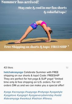 Celebrate Summer with FREE shipping on our shorts & tops! Code: FREESHIP They are perfect for hot yoga & SUP yoga! *limited time only & free shipping on U.S. orders. For int'l orders DM us and we can make you a special offer!  #yoga #acroyoga #supyoga #hotyoga #yogastyle #yogalove #yogagirl #yogaeverydamnday #ootd #bikramyoga #workout #fa