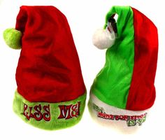 Set 2 Santa Hats Adult Kiss Me & All I Want For Xmas Is You Plush Holiday Party #Novelty