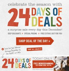 24 Days of Deals for Christmas - email marketing - just the marketing idea here. not the design! Marketing Guru, Email Marketing, Digital Marketing, Marketing Ideas, Email Design, Ui Design, Graphic Design, Whats Today, Holiday Emails