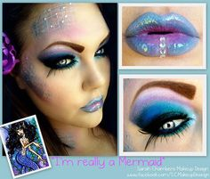 """I'm Really a Mermaid"" iridescent make-up with cool crystal accents."