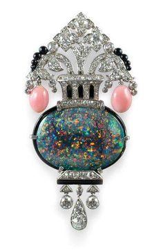 Art Deco Opal & Platinum Brooch #VintageJewelry #Opal