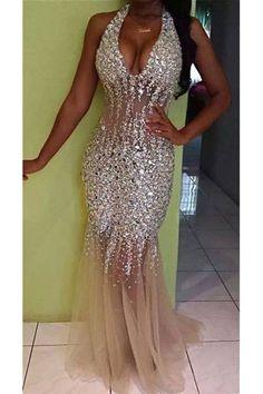 champagne tulle beaded halter long mermaid evening dress, prom dresses
