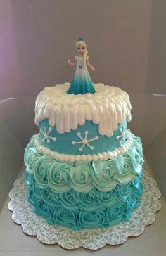 frozen themed buttercream ruffle cake - Google Search