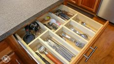 Learn how to make a custom wooden drawer organier with only 4 affordable tools. Diy Drawer Dividers, Diy Drawer Organizer, Drawer Organisers, Diy Kitchen Storage, Kitchen Organization, Kitchen Decor, Organizing, Wooden Drawers, Diy Drawers