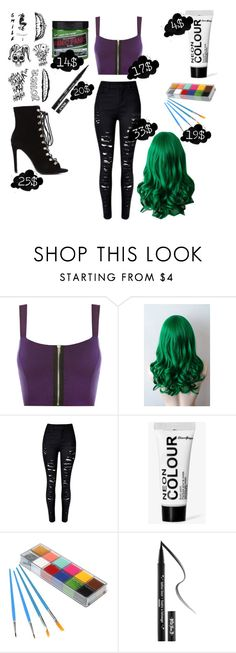 """132 Dollar Female Joker Costumes"" by shaya-bvb-4-life ❤ liked on Polyvore featuring WearAll, Boohoo, Kat Von D, halloweencostume and DIYHalloween"