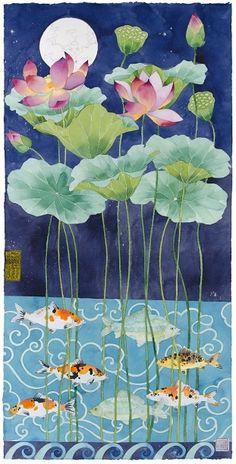 Gabby Malpas - painter, designer and multi-media. Art Lotus, Lotus Kunst, Lotus Painting, Silk Painting, Art And Illustration, Chinese Painting, Chinese Art, Art Floral, Art Chinois