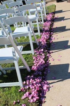lavender / purple petals on aisle for bridal entry