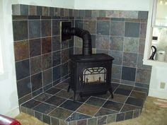 what we wanna do Wood Burning Stove Corner, Wood Stove Installation, Wood Stove Surround, Hearth Tiles, Charming House, Fireplace Makeovers, Fireplace Ideas, Stove Fireplace, Wood Burner