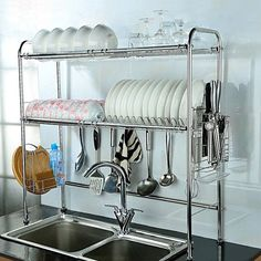 2-Tier Dish Drying Rack Double Slot Stainless Steel Kitchen Cutlery Holder #Unbranded