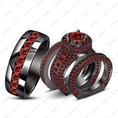 Solid Silver Engagement Ring Set & Free Gift In Black Gold Finished Red Garnet
