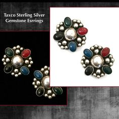Multi-Gemstone Sterling Silver Earrings   Measurement: Approx. 1 3/8  Mark: Mexico 925 & a makers mark illegible  Condition: Very Good vintage  What a stunning pair of 925 Sterling Silver earrings! We believe the semi precious gemstones are lapis, carnelian, onyx in black and green. These big bold beautiful clip-on earrings in Sterling Silver are a great find!     Please do keep in mind that any vintage and/or antique merchandise may have some degree of visible wear or patina. T...