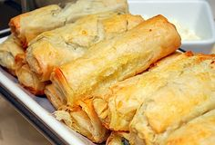 One of my absolute favorite Greek dishes is spanakopita, which is a mixture of spinach, onions, cottage cheese and feta cheese wrapped with . Phyllo Dough, Greek Dishes, Side Dishes, Cooking Recipes, Healthy Recipes, Snacks, Veggie Dishes, Mediterranean Recipes, Appetizer Recipes