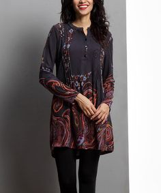 Another great find on #zulily! Charcoal Paisley Pin-Tuck Notch-Neck Tunic #zulilyfinds