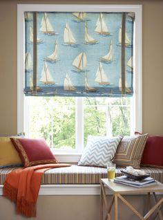 Wayfarer Room Fabric Collection. Image: Calico Corners. #fabric #furniture #interior_design #decorating #nautical #chevron #custom_cushion #reading_nook