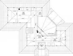 Rzut poddasza projektu Willa Parkowa 6 House Plans Mansion, Bungalow House Plans, Four Bedroom House Plans, Beautiful House Plans, Home Design Floor Plans, Unique House Design, Timber House, Architectural Digest, My Dream Home