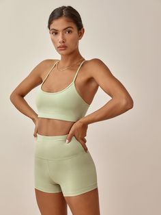 Work out in recycled plastic. Comfier than it sounds. Shop the Sammie Bra from Reformation, a cross back sports bra with spaghetti straps. Blue Jumpsuits, Reformation, Bra Tops, Sustainable Fashion, Fashion Brand, Active Wear, Cute Outfits, Workout, My Style