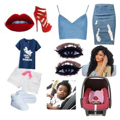 """""""Mommy date!"""" by crownmety ❤ liked on Polyvore featuring Frame Denim, Boohoo, Maxi-Cosi, Carter's, Uniqlo, women's clothing, women's fashion, women, female and woman"""