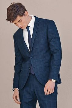 John Halls as opted for this light blue check, 3 piece suit from ...