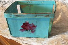 small vintage thin wood berry basket shabby chic by PrincessPeony, $6.00