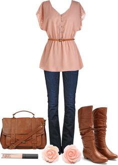 """""""Pink & Brown"""" by qtpiekelso on Polyvore"""