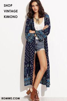2b97ceb5757 Paisley Print Long Kimono
