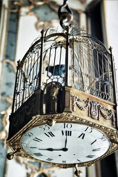 Vogelkäfig-Deko Idee Vogelkäfig Steampunk Sepia Uhr Shabby Chic verzierter Rahmen