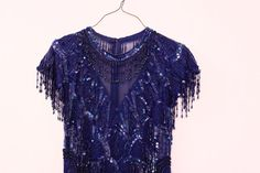 1980s Blue Sequin Dress  Beaded Cocktail Dress  Semi by xYATESx