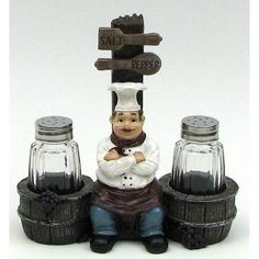 Cordon Bleu Chef Su0026P Set Resin Cordon Bleu Chef W/barrel And Glass Salt U0026. Kitchen  Decor ...