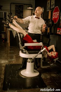 Close Shave Love this shot by Jeff Mawer. Model Twila Jean and Toma at Moe's Barber Shop