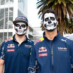 Daniel Ricciardo and Max Verstappen don ghoulish face paint at the Grand Prix of Mexico