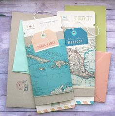 Boarding Pass Wedding Invitation for Destination Themed Ceremony and Reception. Includes vintage map details and custom design. Personalize this invitation suite for your destination wedding location! #VintageDestination