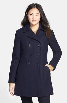 Kenneth Cole New York Wool Blend Military Peacoat available at #Nordstrom