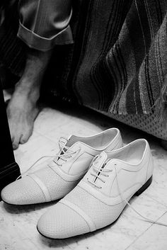 These would be some cool white formal wedding shoes for a groom
