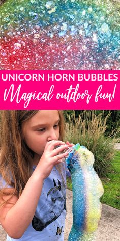 DIY Unicorn Horn Bubbles are so easy and fun for an outdoor activity for kids. A mix of colors and some homemade bubble solution will bring you endless fun! Bubble Games For Kids, Bubble Activities, Outdoor Activities For Kids, Summer Activities, Bubble Fun, Family Activities, Homemade Bubble Solution, Homemade Bubbles, Summer Fun List