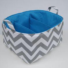 Diaper Caddy - Storage Container Organizer Bin Basket - Large Size -  Separators - 3 Compartments  - Ash Gray and White Slub Chevron Fabric. $52.00, via Etsy.