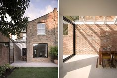 Clever continuation of interior to exterior wall brings the outside in/inside out. Love the exposed brick and clean lines. Great window seat at rear