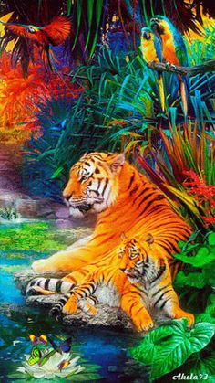 Discover & share this Animated GIF with everyone you know. GIPHY is how you search, share, discover, and create GIFs. Beautiful Creatures, Animals Beautiful, Animals And Pets, Cute Animals, Colorful Animals, Cute Tigers, Baby Tigers, Tiger Art, Animation