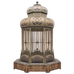 Rare and Important Monumental Birdcage with Seating | From a unique collection of antique and modern bird cages at https://www.1stdibs.com/furniture/more-furniture-collectibles/bird-cages/