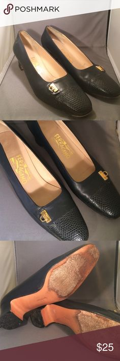 Salvatore Ferragamo Vintage Navy Blue Pumps 8 AA Stylish and sleek blue pumps. These are a used vintage piece but the insoles and outer are in great condition. The wear shows on the bottom with scuffed up soles and chipped heels. Great classic pump! Ferragamo Shoes Heels