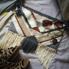 XL Boho Clutch/Purse Geometric Woven by eliseheatherdesigns Weaving Loom Diy, Weaving Art, Hand Weaving, Weaving Projects, Crochet Projects, Diy Clutch, Clutch Purse, Weaving Textiles, Idee Diy