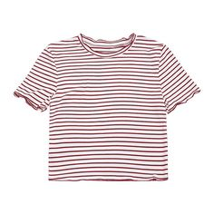 Ribbed Texture Striped Cropped Tee ($13) ❤ liked on Polyvore featuring tops, t-shirts, shirts, crop tops, white crop shirt, stripe t shirt, white crop top, white stripes t shirt and white tee