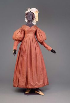 Dress, 1830, American, Made of silk and cotton