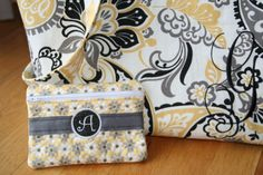 Yellow and Grey zipper pouch goes perfectly with the yellow and black embroidered tote bag on Etsy!