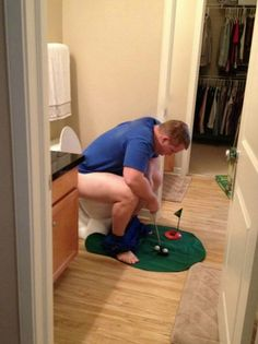 Great Gift Ideas for Golfers - Putting Green in the Bathroom ---- hilarious jokes funny pictures walmart humor fails