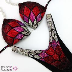 Boom! A gorgeous figure suit design with exciting rich red colors. Smash the stage in style! Check out FS596 at muscledazzle.com  #figuresuit #figurecompetition #figurebikini #crystalbikinis #bikinicompetitors #competitionsuit #crystalbikini #ifbbbikinipro #compbikini #bikinisuit #bikiniathlete #npc #bikinicompetitionprep #bikinicompetition #figureathlete #ifbbbikini #competitionbikinis #bikinicompetitor #figuresuits #competitionsuits Bikini Competition Suits, Figure Competition Suits, Posing Suits, Figure Suits, Suits For Sale, Women Figure, Red Fabric, Shades Of Red, Beautiful Patterns