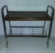 $19.96 or best offer Rolling Cart Metal Wood Utility Serving tv Stand Pyrex Dish Holder Retro #ParkDesign