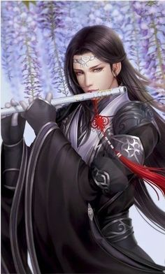 f Bard Robes Flute conifer forest hills winter snow Asian Faction Fantasy Art Men, Beautiful Fantasy Art, Fantasy Warrior, He's Beautiful, Manga Art, Anime Art, Anime Lindo, Chinese Man, Kawaii