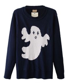 Contrast Color Ghost Pattern Pullover