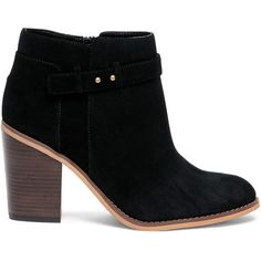 Sole Society Lyriq Heeled Ankle Bootie (885 EGP) ❤ liked on Polyvore featuring shoes, boots, ankle booties, black, black booties, short boots, chunky-heel ankle boots, short black boots and black bootie